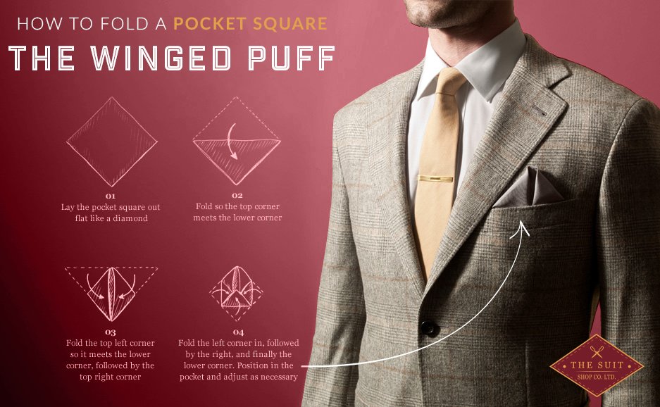 How to Fold a Pocket Square: The Winged Puff
